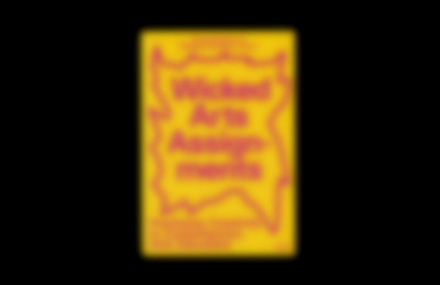 Cover page of the Wicked Arts Assignments book featuring a purple title on yellow paper.